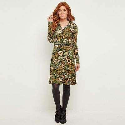 0d7dd0b81a01922 Платье приталенное с V-образным вырезом и длинными рукавами, цветочный  рисунок JOE BROWNS 350132896